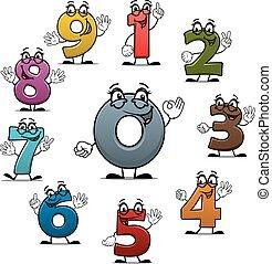 spotprent, tellen, getallen, karakters, vector, iconen