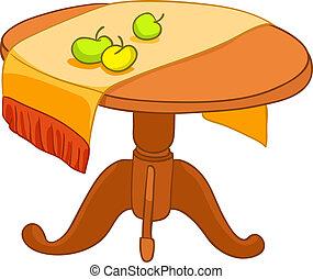 spotprent, thuis, meubel, tafel