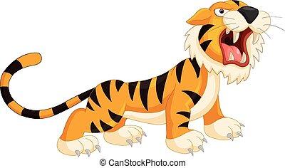 spotprent, tiger, gebrul