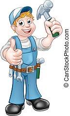 spotprent, timmerman, handyman, vasthouden, hamer