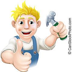 spotprent, timmerman, of, bouwsector, g