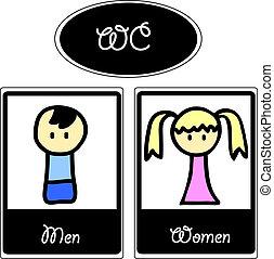 spotprent, toilet, symbolen