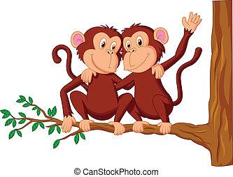 spotprent, tr, twee, aapjes, zittende