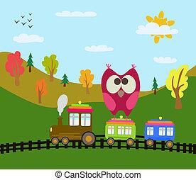 spotprent, trein, en, uil