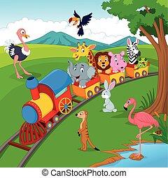spotprent, trein, op, spoorweg, met, wilde dieren