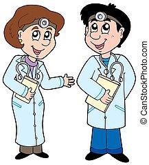 spotprent, twee, artsen