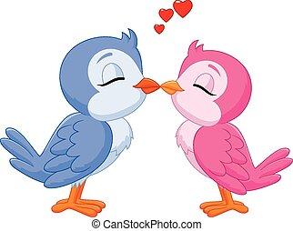 spotprent, twee, liefdevogels, kussende