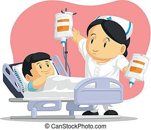 spotprent, van, verpleegkundige, portie, patiënt