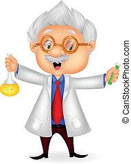 spotprent, vasthouden, chemische wetenschapper