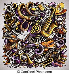 spotprent, vector, doodles, classieke, muziek, illustratie