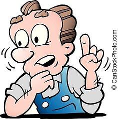 spotprent, vector, illustratie, van, een, ouder, senior, arbeider