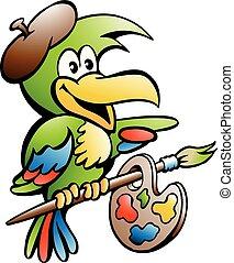 spotprent, vector, illustratie, van, een, papegaai, schilder, kunstenaar