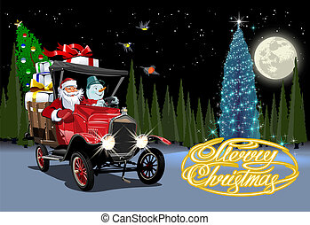 spotprent, vector, vrachtwagen, retro, kerstmis kaart