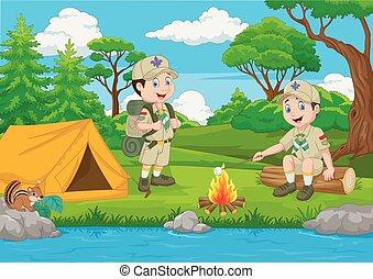 spotprent, verkenner, met, tentje, en, kamperen vuur