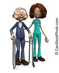 spotprent, verpleegkundige, portie, oudere man, met, walker.