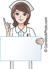 spotprent, verpleegkundige, vasthouden, een, leeg, plank