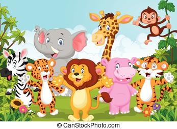 spotprent, verzameling, dier, afrika, in
