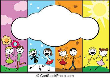 spotprent, vier, stok, achtergrond, jaargetijden, kinderen