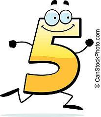 spotprent, vijf, rennende