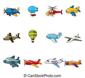 spotprent, vliegtuig, pictogram