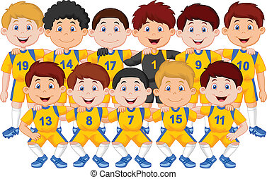 spotprent, voetbal team