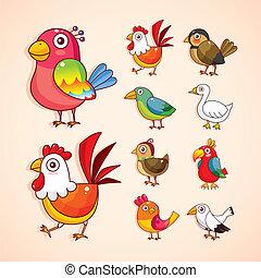 spotprent, vogel, pictogram, set