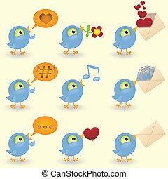spotprent, vogels, pictogram, set