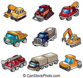 spotprent, vrachtwagen, pictogram