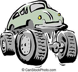 spotprent, vrachtwagen, vector, monster