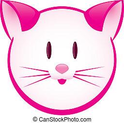 spotprent, vrolijk, roze, katje