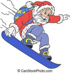 spotprent, vrolijk, santa claus