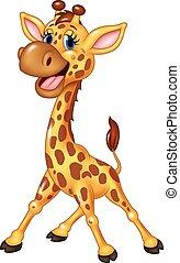 spotprent, vrolijke , giraffe, vrijstaand