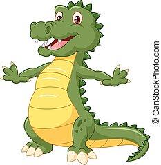 spotprent, vrolijke , krokodil, vrijstaand