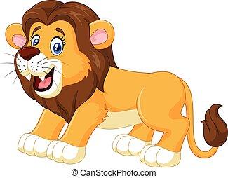 spotprent, vrolijke , leeuw, vrijstaand