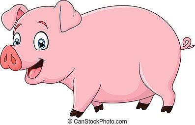 spotprent, vrolijke , vrijstaand, varken
