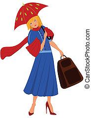spotprent, vrouw, in, blauwe jas, met, rode paraplu
