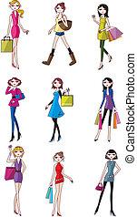 spotprent, vrouw, pictogram, beauty