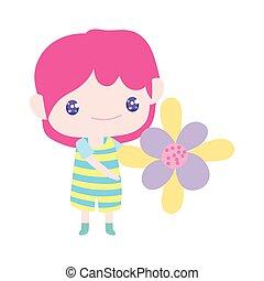 spotprent, weinig; niet zo(veel), mooi, vasthouden, jongen, schattig, bloem
