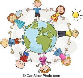 spotprent, wereld, op, kinderen