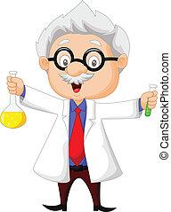 spotprent, wetenschapper, vasthouden, chemisch