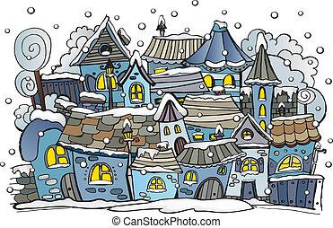 spotprent, winter, fairytale, stad