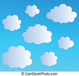 spotprent, wolken, verzameling, 3