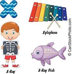 spotprent, x, alfabet
