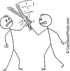 spotprent, zakenlieden, illustratie, zwaarden, fencing., twee mannen, of, vecht, vector
