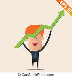 spotprent, zakenman, positief, grafiek, -, vector,...
