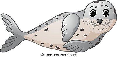 spotprent, zeehondje, schattig