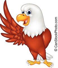 spotprent, zwaaiende , adelaar, vrijstaand