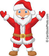 spotprent, zwaaiende , kerstman