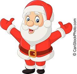 spotprent, zwaaiende , vrolijke , santa claus