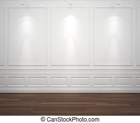 spotslight, na białym, classis, ściana
